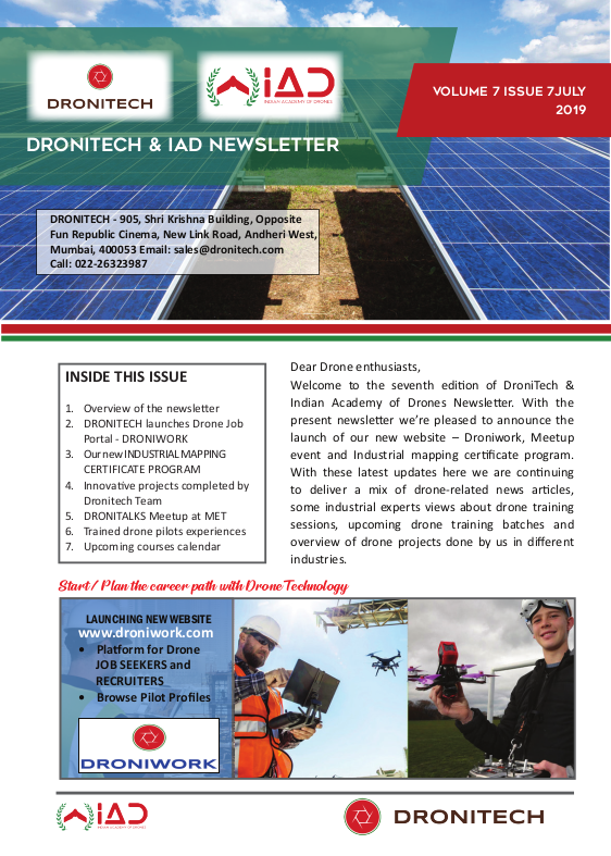Dronitech and IAD Newsletter – July 19