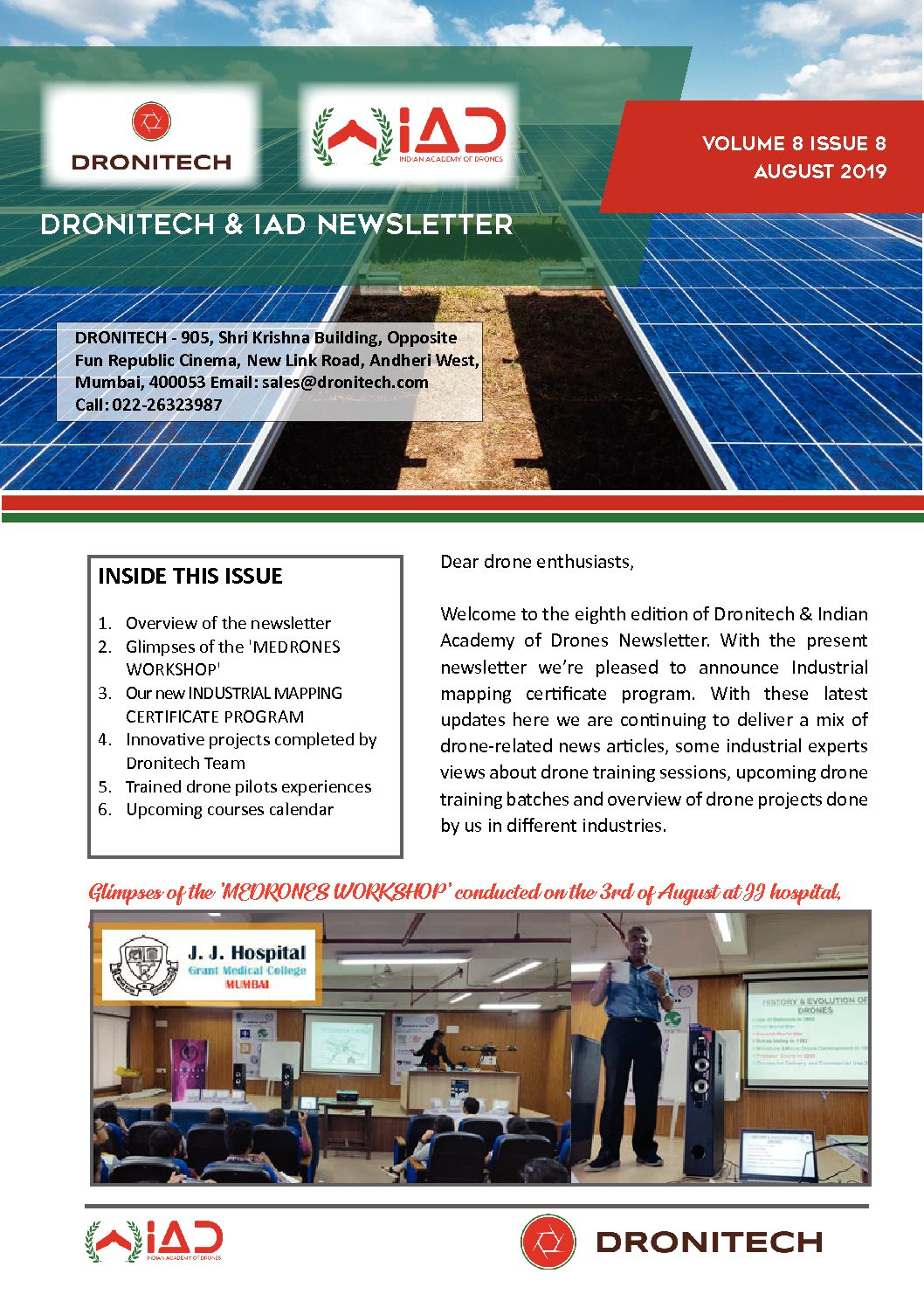 Dronitech and IAD Newsletter -Aug V5